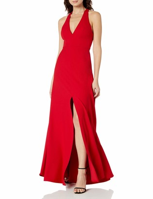 Jenny Yoo Women's Margot V Neck Racer Back Fit and Flare Crepe Gown