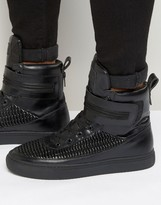 Religion Pleated Hi Top Trainers