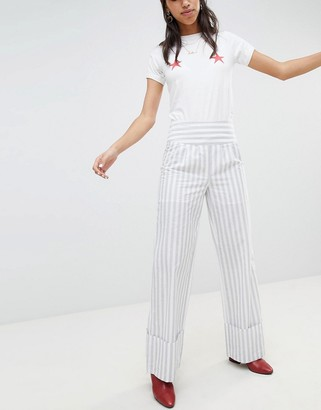 Lost Ink Pant With Wide Leg And Turn Ups In Stripe