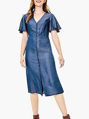 Oasis Button Down Midi Dress, Dark Wash Blue