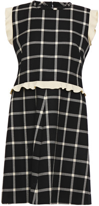 RED Valentino Ruffled Checked Wool-twill Dress