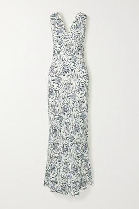IRO Maya Printed Crepe Maxi Dress - White