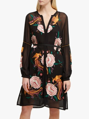 French Connection Ayee Embroidered Button Down Dress, Black/Multi