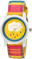 Sprout Women's ST/5531YLMP Swarovski Crystal-Studded Rain Drop Watch with Striped Cotton Band