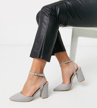Raid Wide Fit Exclusive Neima block heeled shoes in gray