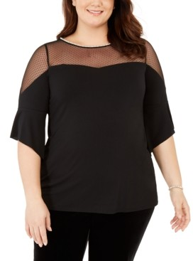 Belldini Black Label Women's Plus Size Dotted Mesh Sweetheart Neck Tunic