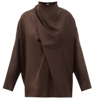 Totême Draped Silk Blouse - Dark Brown
