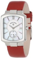 Philip Stein Teslar Women's 21-CMOP-CIDR Classic Mother-Of-Pearl Red Italian Calf Strap Watch