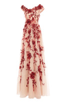 Marchesa Feather Embroidered Off The Shoulder Gown