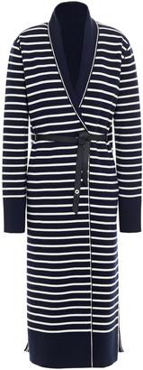 Loro Piana Leather-trimmed Striped Cashmere Cardigan