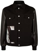 McQ by Alexander McQueen Leather Sleeve Graphic Panel Denim Jacket