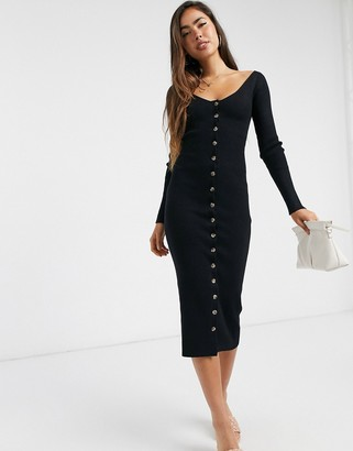 Fashion Union knitted midi dress with button front