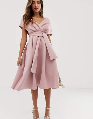 Asos Design fallen shoulder midi prom dress with tie detail-Pink