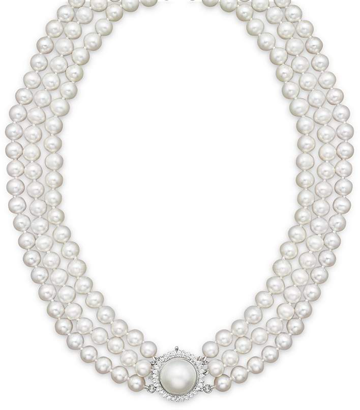 """Bloomingdale's Cultured Freshwater Pearl Necklace with Diamond Accents, 16"""""""