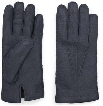 Dalgado Handmade Peccary Leather Gloves Blue Maurizio