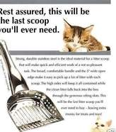 rsvp Endurance Stainless Steel Cat Kitty Litter Box Scoop Extra Large - Sifting