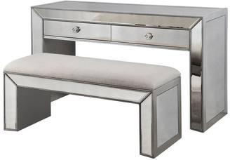 Best Master Furniture Vanity Console Table w/ Bench, Silver & Mirrored Inlays, 2-Piece Set
