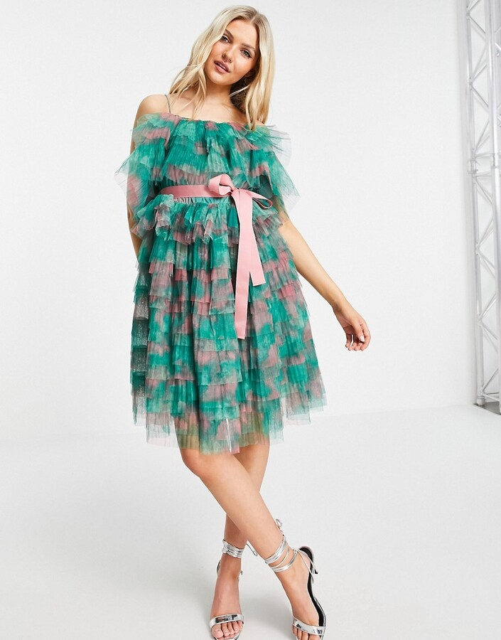 Thumbnail for your product : Forever U tiered off shoulder mini dress in green