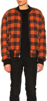 R 13 Double Plaid Flight Jacket in Red.