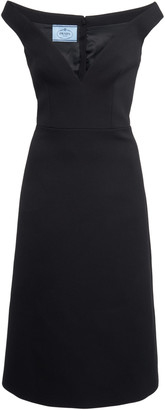 Prada Off-The-Shoulder Gabardine Midi Dress
