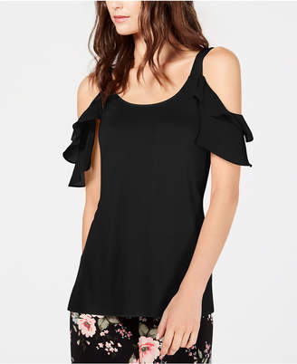 INC International Concepts Inc Ruffled Cold-Shoulder Top