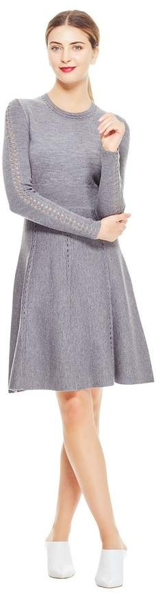 Lela Rose Shell Stitch Full Skirt Knit Dress