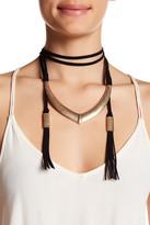 Natasha Accessories Suede Wrap Metal Pendant Choker