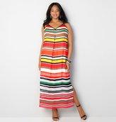 Avenue Variegated Stripe Halter Maxi Dress