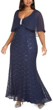 R & M Richards Plus Size Capelet Gown