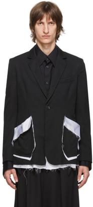 Sulvam Black Gabardine Classic Blazer