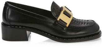 Prada Block-Heel Leather Loafers