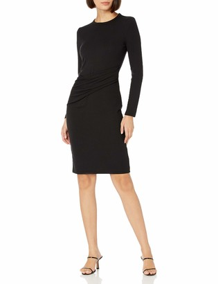 Daily Ritual Amazon Brand Women's Rayon-Spandex Fine Rib Long-Sleeve Crewneck Draped Dress