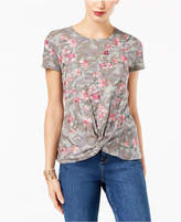 INC International Concepts Printed Embroidered Knot-Front T-Shirt, Created for Macy's
