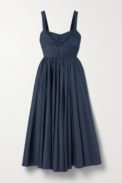 Thumbnail for your product : Jason Wu Collection Gathered Cotton-sateen Midi Dress - Midnight blue