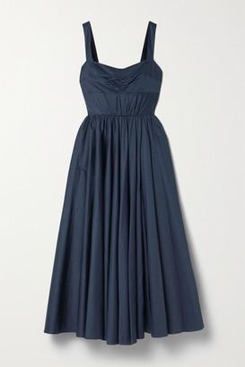Jason Wu Collection Gathered Cotton-sateen Midi Dress - Midnight blue