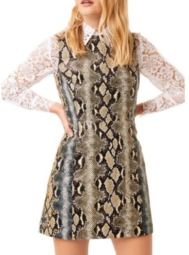 French Connection Faux-Leather & Lace Dress