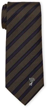 Versace Blue Silk Pinstripe Dot Tie