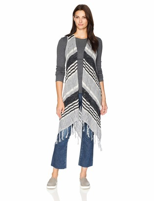 One World ONEWORLD Women's Sleeveless Stripe Fringe Sweater Vest