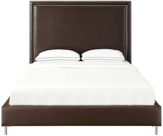 INSPIRED HOME Giovanna Nailhead Trim Platform Bed, Espresso Leather Pu, Queen