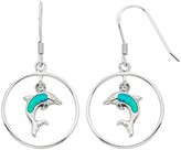Lab-Created Blue Opal Sterling Silver Dolphin Hoop Drop Earrings