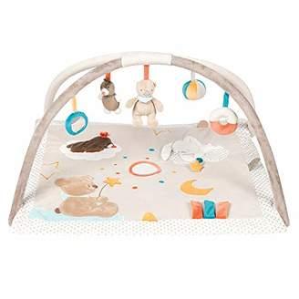 BEIGE Nattou 963336 Baby Krabbeldecke mit Spielbogen, Gepolsterte Activity Decke Unisex für Jungen und Mädchen, 80 x 70 cm Spieldecke beige, Loulou, Lea & Hippolyte