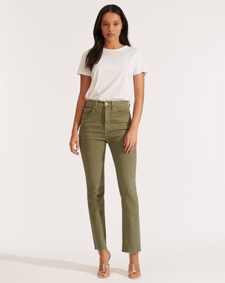 Veronica Beard Carly High-Rise Kick Flare Jean with Raw Hem