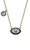 BETTINA JAVAHERI Double Diamond Evil Eye Necklace With Charm
