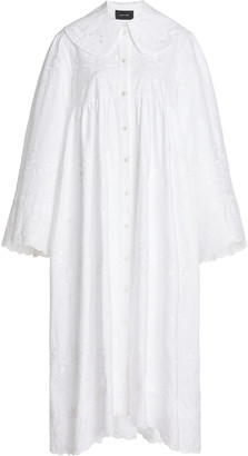 Simone Rocha Smocked Cotton Shirt Dress