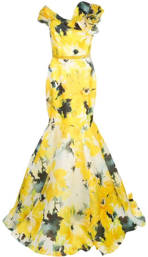 Marchesa watercolour bardot neckline evening gown
