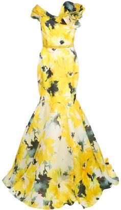 Marchesa watercolour bardot neckline evening gown
