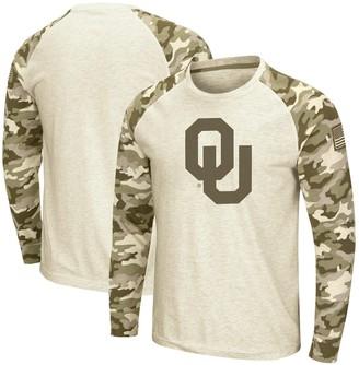 Colosseum Men's Oatmeal Oklahoma Sooners OHT Military Appreciation Desert Camo Raglan Long Sleeve T-Shirt