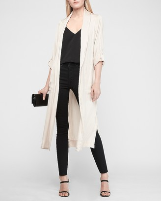 Express Soft Satin Tie Trench Coat