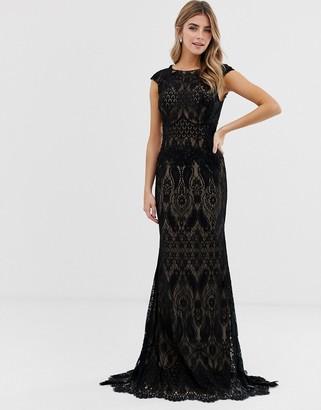 Jovani all over lace maxi dress-Black