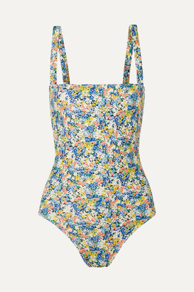 Faithfull The Brand Phoebe Floral-print Swimsuit - Blue